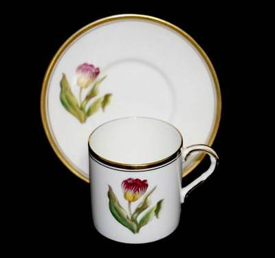 Vintage Royal Worcester Tulip pattern coffee cup can & saucer
