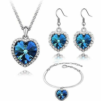 Crystals from Swarovski ® Blue Heart of the Ocean Set White Gold Plated