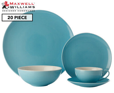 Maxwell & Williams Colour Basics 20-Piece Coupe Dinner Set - Sky
