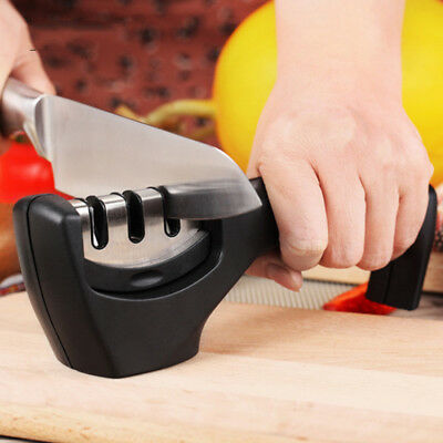 3 in 1 Fast Easy 3-Stage Professional Manual Chef's Kitchen Knife Sharpener Hone