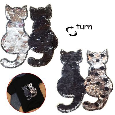 2017 Cat Reversible Color Sequins Sewing Patches Clothes DIY Applique Patch