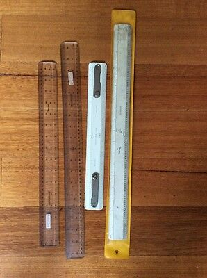 4 x Vintage Precision Drawing, Drafting Egineering rulers collectable WG