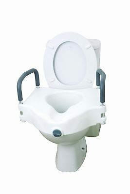New 2 In 1 Elevated Toilet Seat Frame Support Disability Removable Arms UK Fast