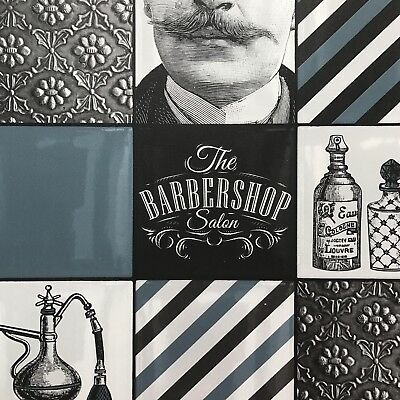 Dark Teal, White & Black Quirky Barber Shop Tile Wallpaper - Salon - 10m Rol