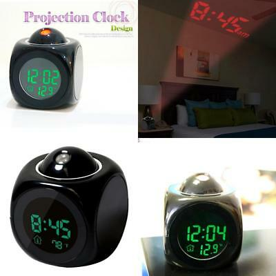Digital LCD Voice Talking LED Projection Alarm Clock Time Temperature Projector