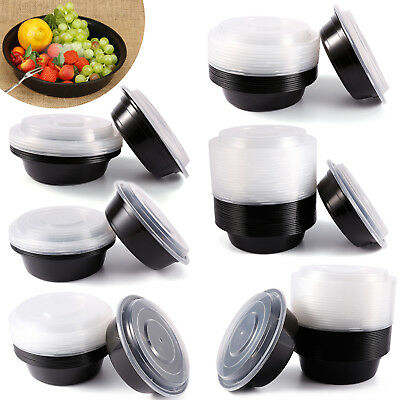 For Meal Prep Food Storage Containers +Lids Round Plastic Deli Cups Leak Proof