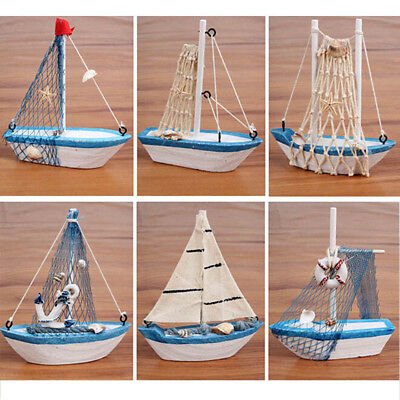 Retro Wooden Mediterranean Style Mini Sailing Boat Model Home Furnishing Decor
