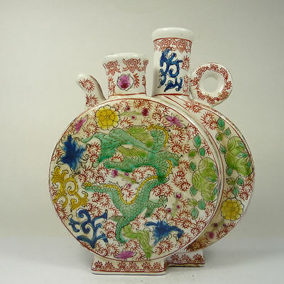 superb old china handwork porcelain pot 2 in 1 body paint dragon Phoenix Bottle