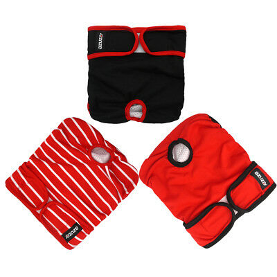 3Pack Reusable Washable Female Dog Diapers Wraps Soft Dura Underwear Dog in Heat