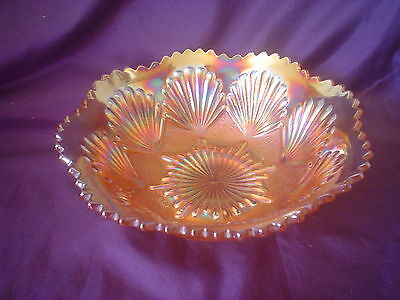 Imperial Carnival Glass Shell & Sand Fluted Bowl Marigold Opalescent 1920s
