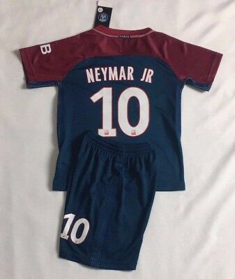 New Season 2018 Kids Soccer Jersey PSG Home #10 NEYMAR JR Kit Top+Short Set
