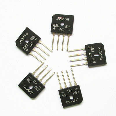 5 pieces Silicon Copper Bridge Rectifier Full Wave Single Phase 6 Amps 600V