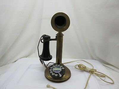 1910 Candlestick Telephone American Bell Brass and Black WORKING!