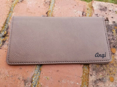 Personalized Brown Leather Checkbook Cover