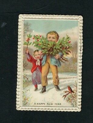 Victorian New Year Card,small,early,Boy& Girl gathering Holly,Robin,Snow,