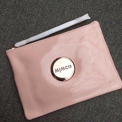 Mimco Blush Pink Rose Gold Medium Pouch Leather Rrp $99.95 Express Delivery