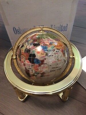 NEW Lapis Gemstone Globe, Mother of Pearl, Osborne & Allen 150mm Valued £360.00