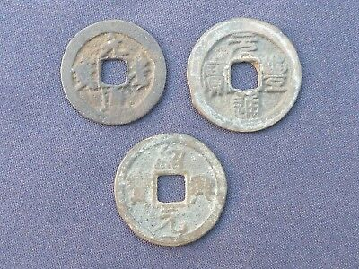 GENUINE ANCIENT CHINESE COINS x 3 28 - 30mm