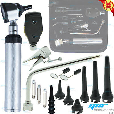 HUMAN & VETERINARY ENT Medical Otoscope Opthalmoscope SET Diagnostic Kit LED