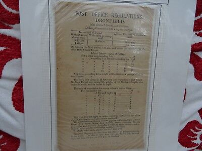 Dronfield Post Office Regulations of 1881
