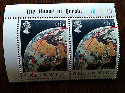 GB mint & unmounted View of Earth from Apollo block of 2 x 16 pence stamps 1984