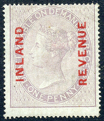 1860 Postal Fiscal INLAND REVENUE 1d dull reddish lilac on blued paper SG F8 MH