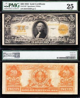 AWESOME Bold & Crisp VF 1922 $20 GOLD CERTIFICATE! PMG 25! FREE SHIP! K64722899