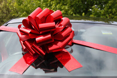 "MEGA BIG CAR BOW (16"") for Cars, Large Birthday & XMAS Gifts - HOLOGRAPHIC RED"