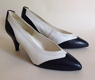 RAVEL Blue & White Leather 1980s Vintage Court Shoe In Rockabilly 50s Style UK 5