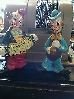 Vintage 2 pottery clowns unmarked music instruments