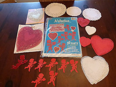 Vintage Beistle Valentine Die Cuts Doilies Red Gold Foil Hearts Honeycomb Cupid