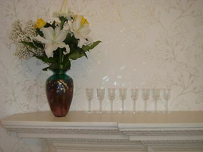 Eight Imperial Candlewick Liqueur Glasses Crystal Stems Classic Design Spheres