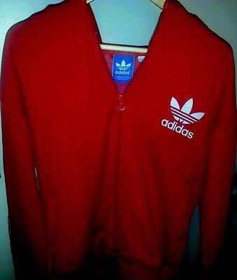 Adidas Fall Runners Fitness Gym Red 3 Stripes Hoodie Jacket Large VG+ Condition
