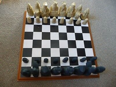 John Jacques Wooden Chess Board With Resin Medieval Characters