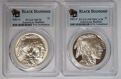 2001 P & D Buffalo Proof/Unc Silver Dollar PCGS MS70 & PR70DCAM Black Diamond.#3