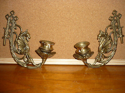Vintage Pair Griffin / Dragon Brass Wall Candle Holders Sconce Gothic Decor