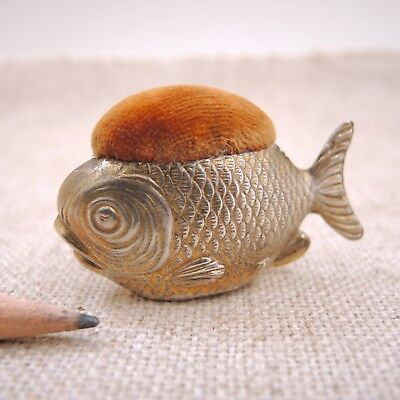 1909 Gilt Silver Fish Pincushion Sampson Mordan & Co Figural Sterling Antique
