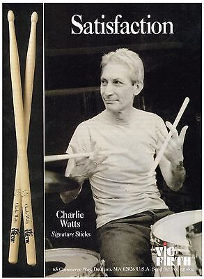 Vic Firth Drumsticks -Charlie Watts of Rolling Stones - 1998 Print Advertisement