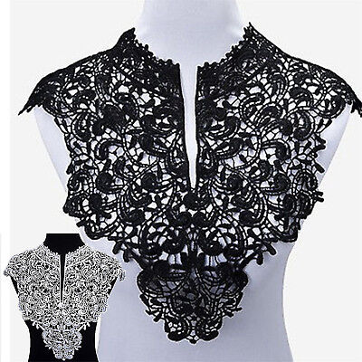 Embroidery Flowers Lace Neckline Fabric Collar For Sewing Supplies DIY Crafts Ne