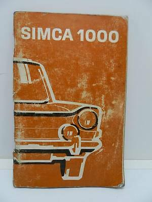 SIMCA 1000 CHRYSLER FRANCE libretto uso manutenzione auto automobile car