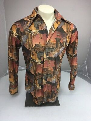 Vtg 70s Ramci GREAT SPHINX Egyption button up Collared ALL OVER PRINT shirt M