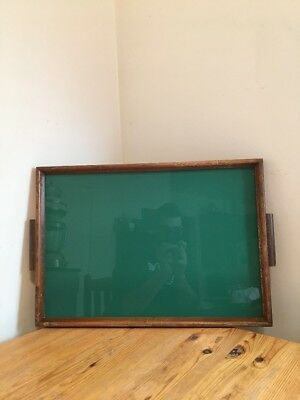 Vintage Wooden Glass Serving Tray