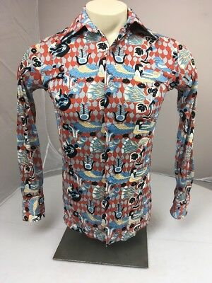 VTG 70s HUK-A-POO  button Multicolor LS silky Winged Pharaoh dressy shirt SM