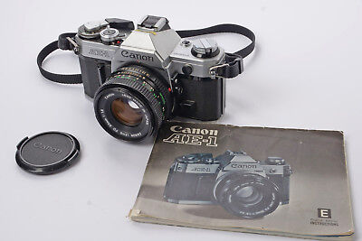 Canon AE-1 35mm SLR camera with Canon 50mm f/1.8 Lens, Instructions & Neck Strap