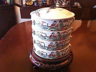 Chinese sweetmeat stacked round porcelain dishes in four sections
