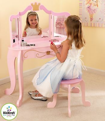Kidkraft Princess Vanity Unit Girls Wooden Dressing Table and Stool
