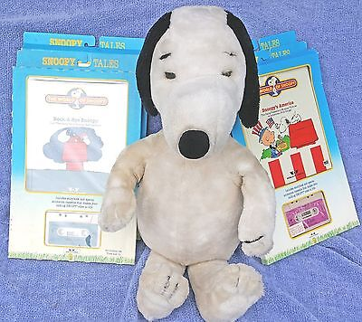 """1986 Talking 36"""" Snoopy Plus 4 Mint Books & 4 Cassette Tapes - World Of Snoopy"""