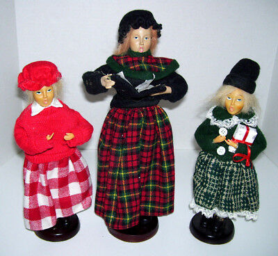 "Vtg Set of 3 Victorian Christmas Carolers 12.5"" Woman 2 Children Fabric Clothing"