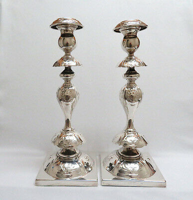 Antique Henneberg Poland Silver Judaica Candlesticks Candle Holders