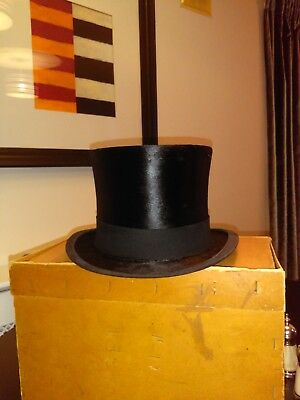 Vintage Silk Top Hat Size 6 3/4 (54cm) - Original 1920s with box